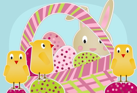 Chicks, Bunny and Eggs Stock Vector - 9919646
