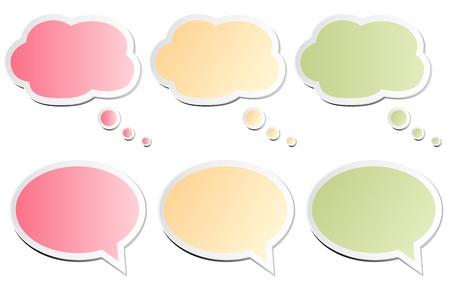 burbujas de pensamiento: Burbujas de chat Vectores