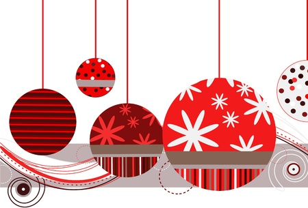 christmastide: Christmas Ornaments in Red Illustration