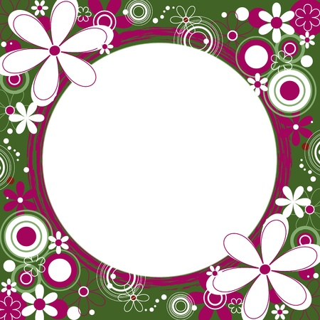 Floral Square Frame in Green and Magenta