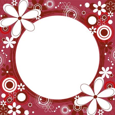 赤い花の正方形のフレーム