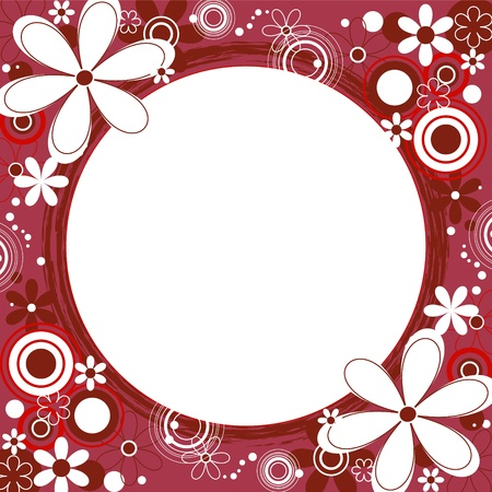 Floral Square Frame in Red Vector