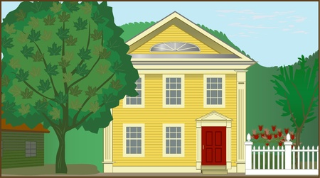 rural houses: Colonial House Illustration