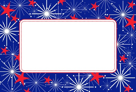 Fourth of July Fireworks Frame Vector