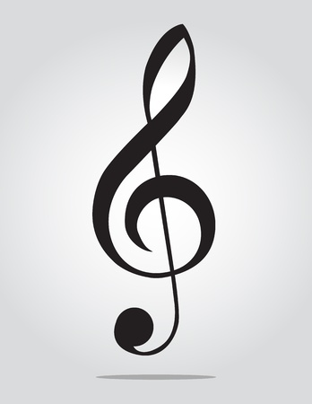 clef: G Clef on gray background Illustration