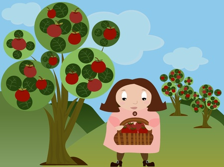 Girl in Apple Orchard Vector