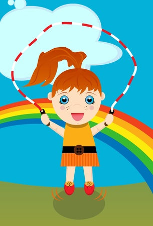 Jong meisje springtouw Stock Illustratie