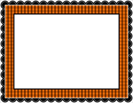 Halloween Gingham Frame Vector