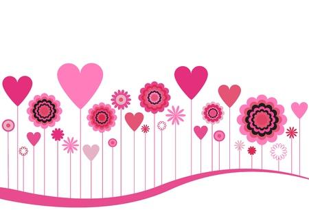 피는 꽃과 하트 핑크