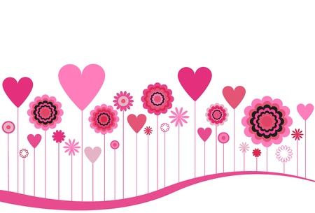Blooming Flowers and Hearts in Pink Ilustracja