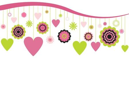 appendere: Cuori e fiori appesi Vettoriali