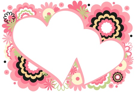 Pink Heart Frame Ilustração