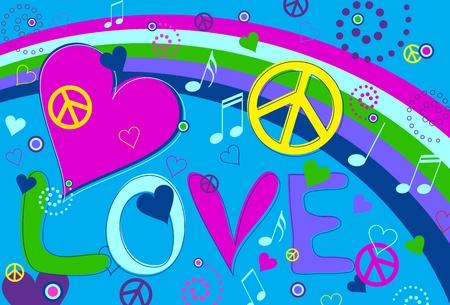 siebziger jahre: Liebe Frieden und Herzen Illustration