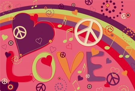 symbole de la paix: Paix amour et des coeurs en rose Illustration