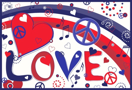 Love Text in Red White and Blue Vector