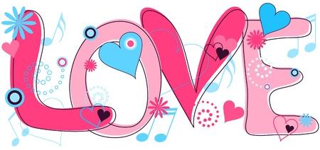 Liefde tekst in roze en blauw