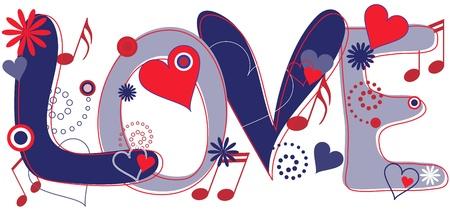 siebziger jahre: Liebe Text in rot wei� und blau