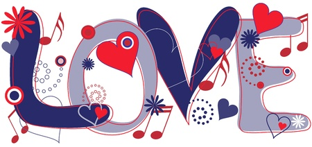 fashion illustration: Love Text in Red White and Blue