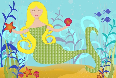 Mermaid under the Sea Vector