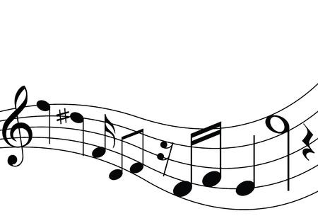 notes musicales: Notes musicales et le personnel Illustration
