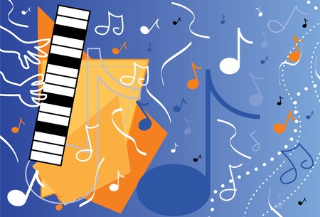 piano player: Blue Music Illustration