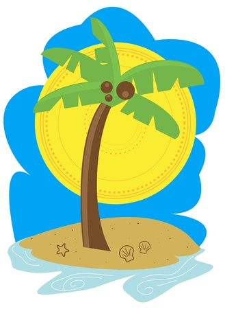 Palm Tree Beach Vector