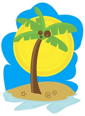 Palm Tree Beach Stock Vector - 9919633