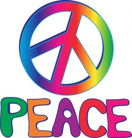 symbol peace: Texto de paz con el signo de la paz