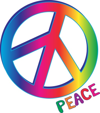 simbolo della pace: Testo di pace con il segno della pace