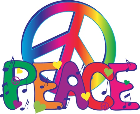 평화의 서명으로 평화 텍스트 일러스트