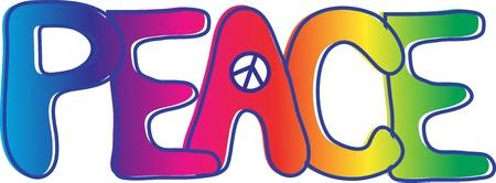 Texto de paz con el signo de la paz Foto de archivo - 9917740