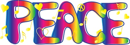 60s hippie: Peace Text with peace signs