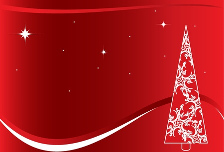 christmastide: Red Christmas background with white Tree Illustration