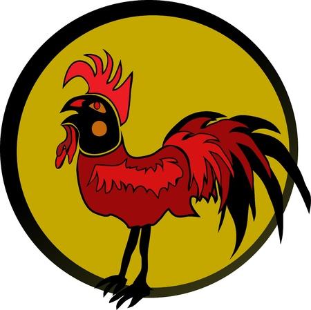 Red Rooster in black frame Vector