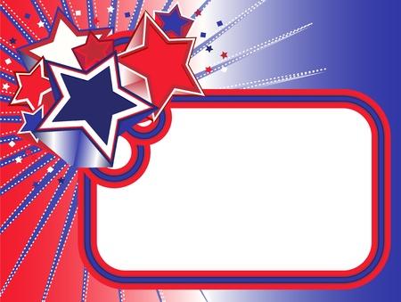 Red white blue stars banner Vector