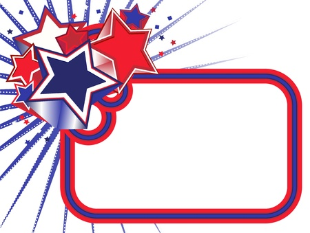 blue ray: Red, White and Blue Stars Banner on a White background Illustration