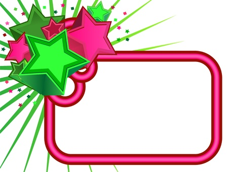 neon green: Retro Stars banner on white background Illustration