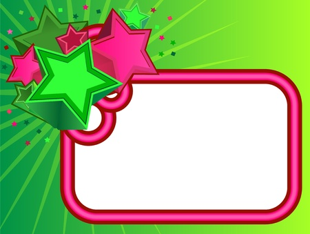 neon sign: Retro Stars Banner on Green background