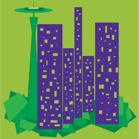 space needle: Abstract representation of Seattle WA USA