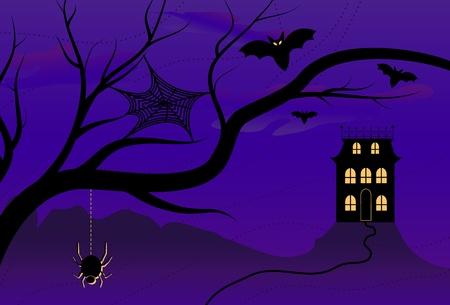 Spooky Halloween House Illustration