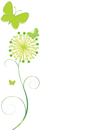 green flower: Butterflies and Flower