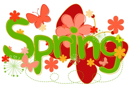 butterfly isolated: Spring Text