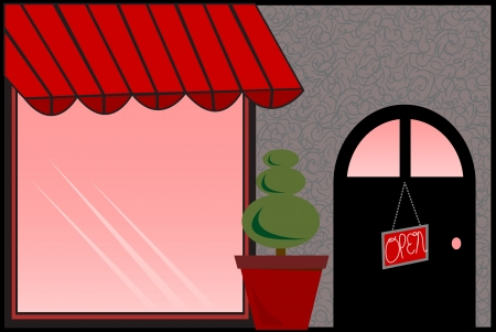 shop window: Store Front with Red Awning Illustration