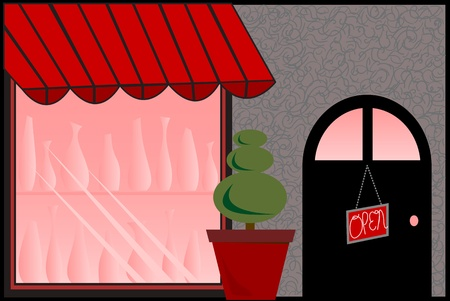 Store Front with Red Awning Stock Illustratie