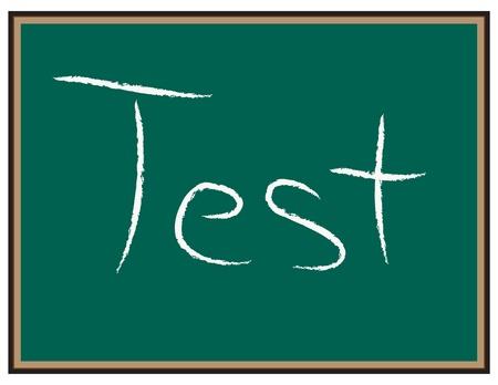 칠판에있는 시험 단어들