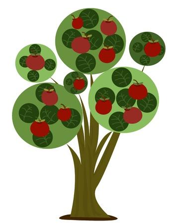 picking fruit: Apple Tree - Stylized cartoon illustration of an apple tree