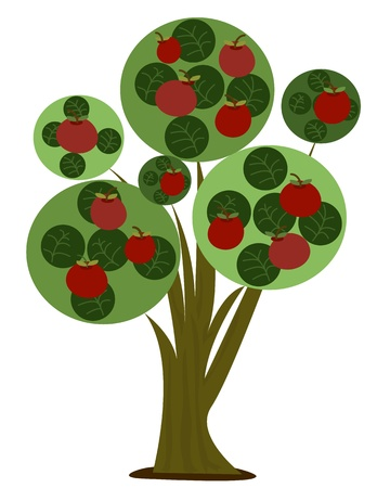 Apple Tree - Gestileerde cartoon illustratie van een appelboom