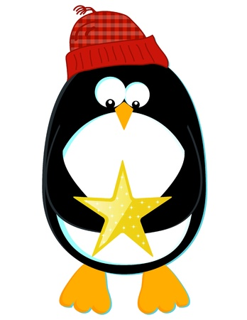 Penguin with Star Vector