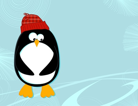 Penguin on ice landscape Vector