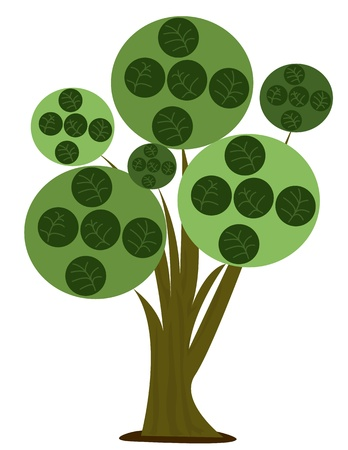 木 - 木の様式化された漫画の実例  イラスト・ベクター素材